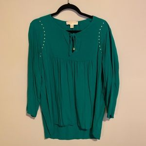 Michael Kors Studded Green Blouse L